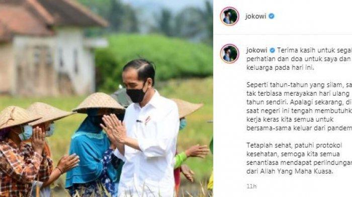 Presiden RI Joko Widodo (Jokowi) bercerita alasan dirinya tidak rayakan ulang tahunnya yang ke-60 di tengah Covid-19, Senin (21/6/2021).