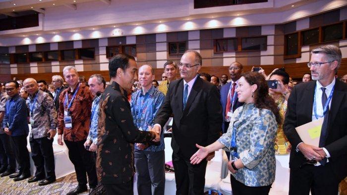 Presiden Indonesia Joko Widodo (Jokowi) saat menghadiri IMF-WB, Jumat (12/10/2018).