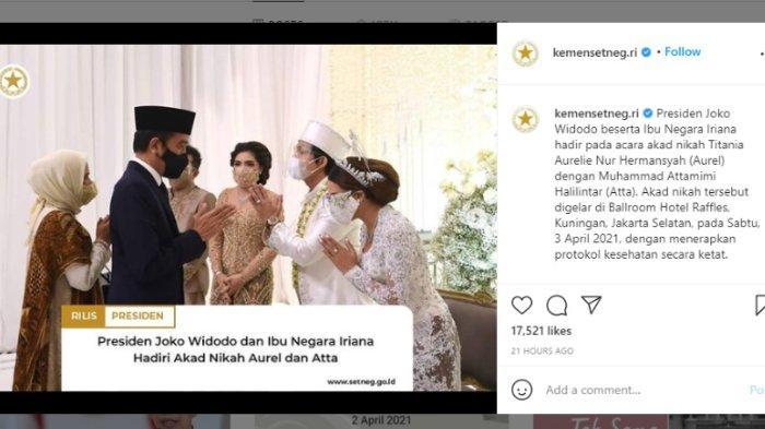 Presiden Joko Widodo (Jokowi) dan Ibu Negara Iriana hadir dalam pernikahan Atta Halilintar dan Aurel Hermansyah, Sabtu (3/4/2021).