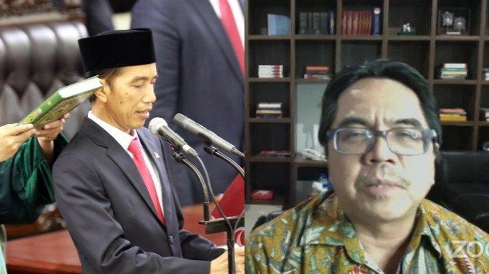 Presiden Terpilih Joko Widodo (kiri) mengucapkan sumpah jabatan saat pelantikannya di Gedung Nusantara I, Kompleks Parlemen Senayan, Jakarta, Senin (20/10/2014). Joko Widodo - Jusuf Kalla resmi menjabat sebagai Presiden dan Wakil Presiden Republik Indonesia masa bakti 2014 - 2019. Terbaru, Direktur Komunikasi SMRC, Ade Armando memperingatkan akan berbahaya jika Presiden Jokowi kembali maju di tahun 2024.