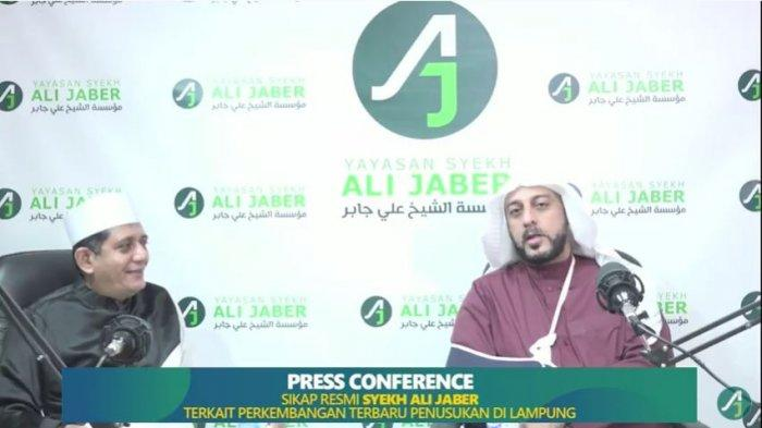 Press conference Syekh Ali Jaber, Jumat (18/9/2020). Syekh Ali Jaber mengaku sempat bertemu Alfin Andrian di dalam mimpinya.