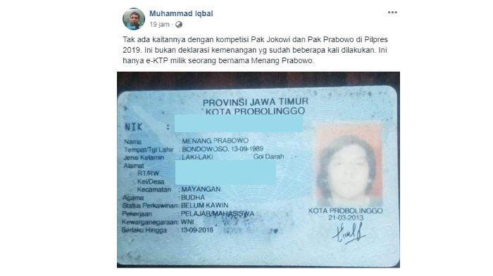 Viral di Facebook Pria Bernama 'Menang Prabowo'