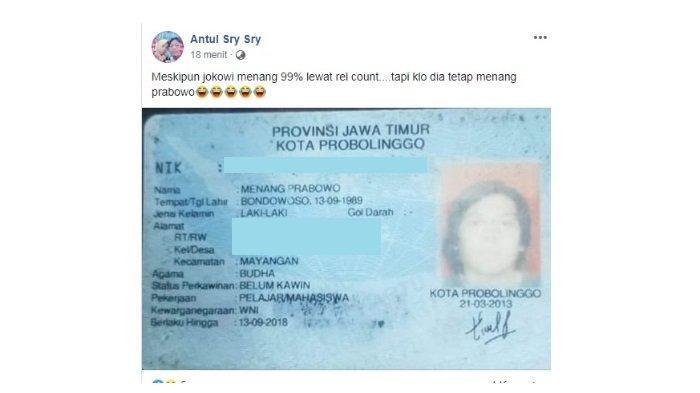 Viral Pria di Bondowoso Bernama Menang Prabowo