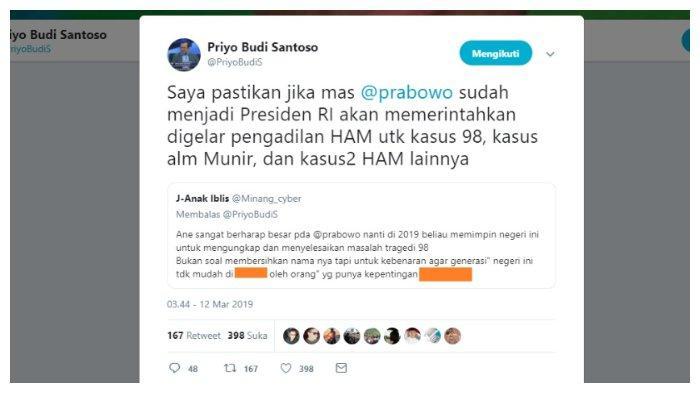 Kicauan Priyo Budi Santoso terkait tragedi penculikan 1998 dan kasus Munir, Selasa (12/3/2019).