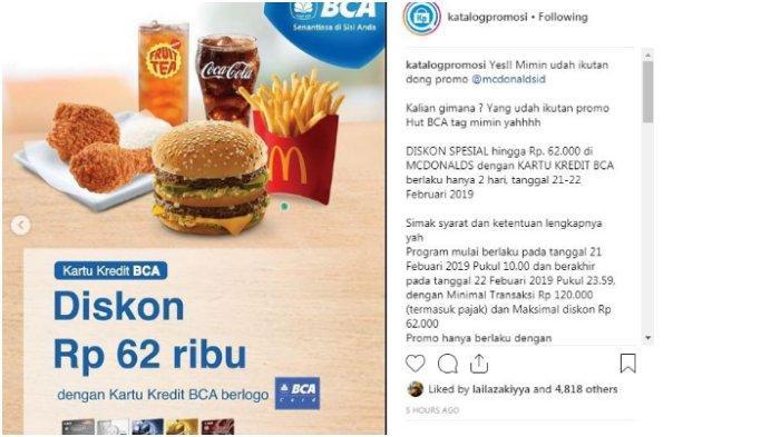 Promo MacDonald's dengan kartu kredit BCA