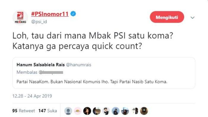Akun terverifikasi PSI, @psi_id juga tampak memberikan tanggapan atas cibiran Anak Dewan Kehormatan PAN Amien Rais, Hanum Rais terkait partai.