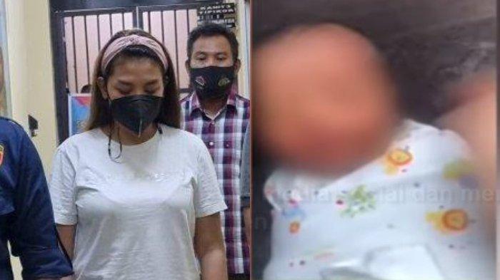 PT (25) ibu yang diduga melakukan tindak penyiksaan kepada bayinya sendiri (kanan) diamankan aparat kepolisian.