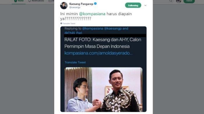Reaksi Kaesang saat fotonya diedit dengan AHY, Kamis (6/6/2019)
