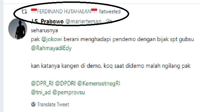 Retweet dari Ferdinand Hutahaean