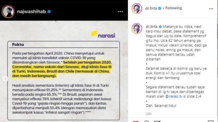 Influencer sekaligus tenaga kesehatan, dr. Tirta bereaksi atas dipindahnya Ribka Tjiptaning dari Komisi IX ke Komisi VII, diunggah di Instagram/@dr.tirta, Senin (18/1/2021).