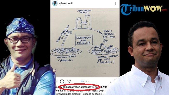 Postingan Ridwan Kamil 'membangun Tanpa Menggusur' dilike Anies Baswedan bahkan penyanyi Rossa.