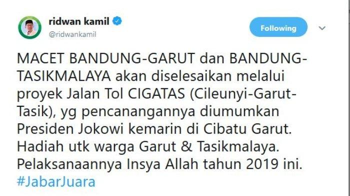 Capture Twitter @ridwankamil, Jumat (19/1/2019)