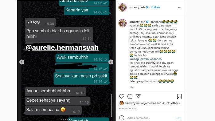 Rina Gunawan mengirim pesan WA ke Ashanty