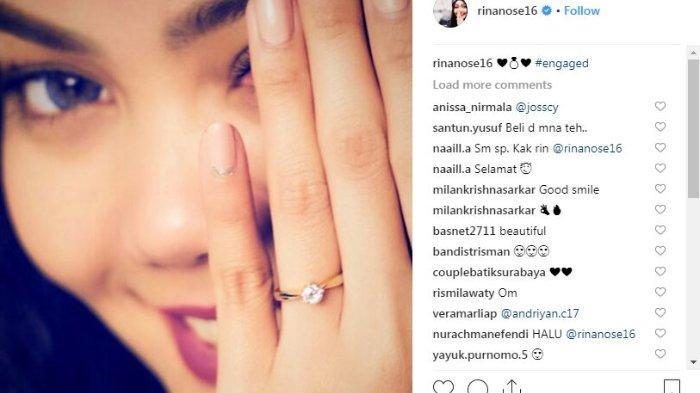 Rina Nose pamerkan cincin tunangan dan diberi ucapan selamat oleh sang mantan pacar, Fakhrul Razi.