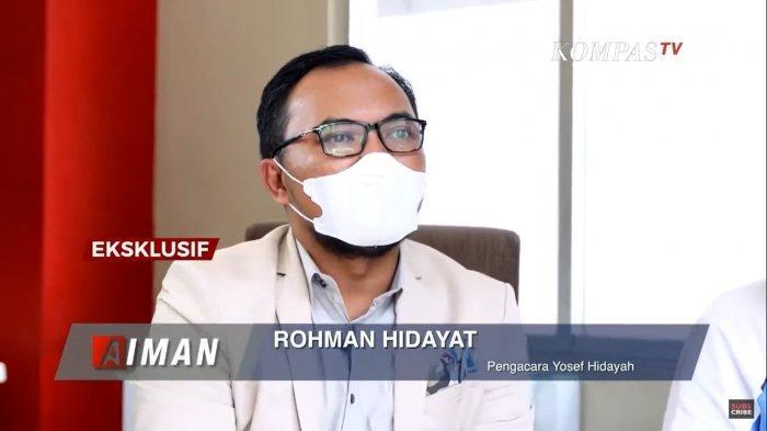 Rohman Hidayat, kuasa hukum Yosef, mendampingi kliennya dalam wawancara eksklusif terkait kasus pembunuhan Tuti dan Amalia di Subang, Jawa Barat. Ditayangkan dalam acara AIMAN, Senin (27/9/2021) malam.