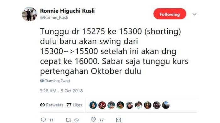 Unggahan Ronnie Higuchi Rusli pada Twitter