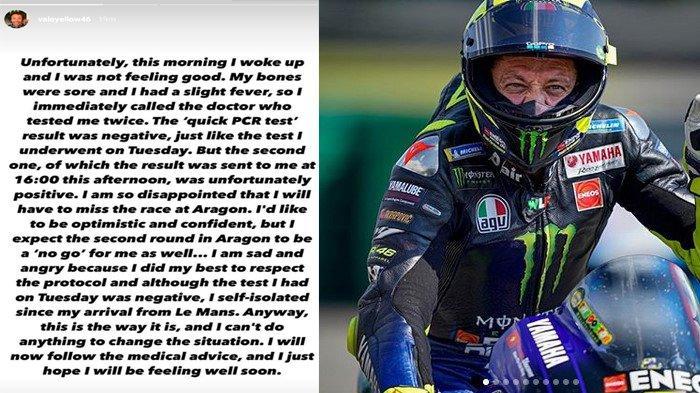 Pebalap Valentino Rossi positif terjangkit Virus Corona Covid-19. Kabar tersebut dimumkan sendiri oleh Rossi melalui unggahan Instastory akun Instagramnya, Kamis (15/10/2020) malam. Rossi pun dipastikan absen di MotoGp Aragon.