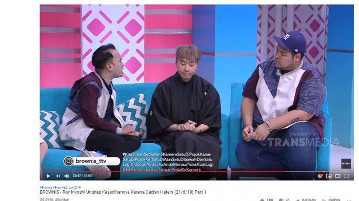 Roy Kiyoshi saat menjadi bintang tamu di tayangan Brownis yang diunggah melalui kanal YouTube Trans TV Official, pada Jumat (21/6/2019).