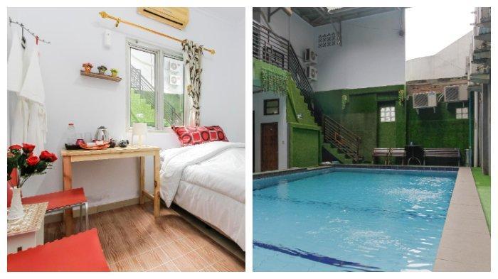 Kolase penampakan ruangan kamar dan fasilitas kolam renang dalam Hotel Alona milik artis Cynthiara Alona, Kamis (18/3/2021).