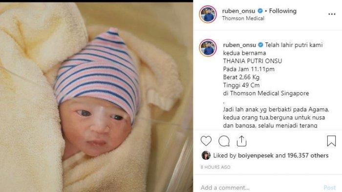 Ruben Onsu dan Sarwendah Dikaruniai Anak Kedua