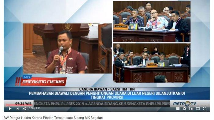 Ketua Tim Hukum Prabowo Subianto-Sandiaga Uno, Bambang Widjojanto mendapat teguran dari majelis hakim karena berpindah-pindah tempat dari tempat duduknya saat persidangan sengketa hasil Pilpres 2019 sedang berlangsung di Mahkamah Konstitusi, Jumat (21/6/2019).