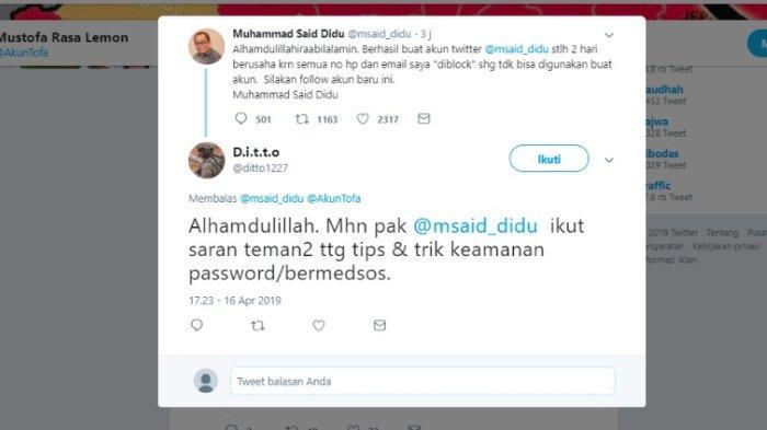 Kicauan Said Didu soal akun Twitter terbarunya, Selasa (16/4/2019).
