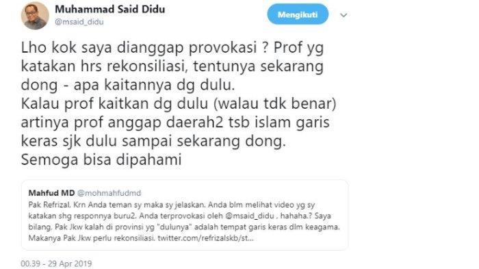 Kicauan Mantan Staf Khusus Menteri Energi dan Sumber Daya Mineral (ESDM) Said Didu, Senin (29/4/2019).