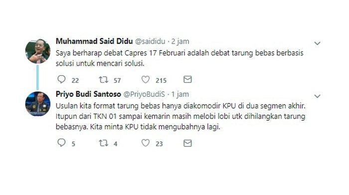 Cuitan Said Didu soal debat kedua Pilpres 2019 yang ditanggapi oleh Priyo Budi Santoso.