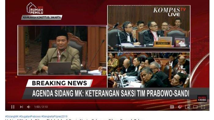 Saksi Agus Maksum saat menjelaskan pernyataannya yang dinilai bertentangan dalam sidang ketiga sengketa hasil Pilpres 2019 di Mahkamah Konstitusi, Jakarta, Rabu (19/6/2019).