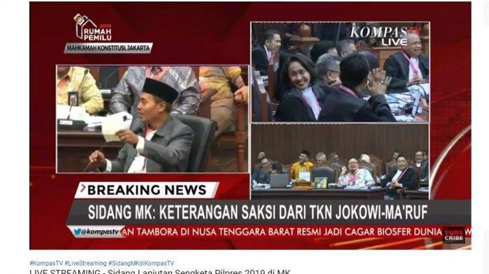 Saksi Tim Kampanye Nasional Joko Widodo (Jokowi)-Ma'ruf Amin, Anas Nasikin membuat tertawa satu ruang sidang sengketa Pilpres 2019 di Mahkamah Konstitusi (MK).