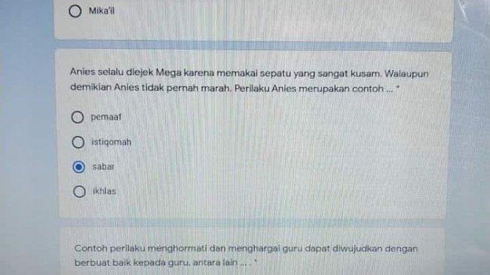 Salah satu soal ujian sekolah di Jakarta yang mencantumkan nama Anies.