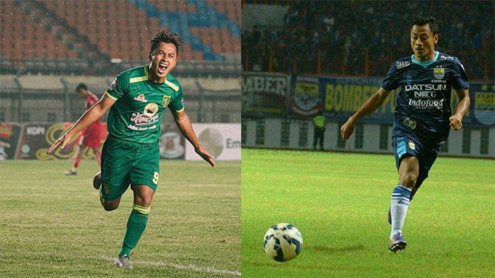 Samsul Arif Persebaya (kiri) pada postingan Instagram @officialpersebaya pada 24 Maret 2021 dan Samsul Arif Persib Bandung pada postingan Instagram @samsul_munip pada 16 Maret 2016.
