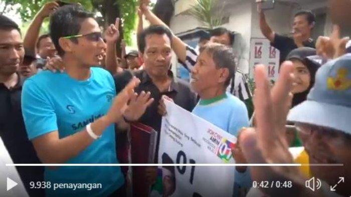 Sandiaga Uno Disambut Damai Pendukung Jokowi-Ma'ruf Bojonegoro: Bawa Poster hingga Acungkan 1 Jari