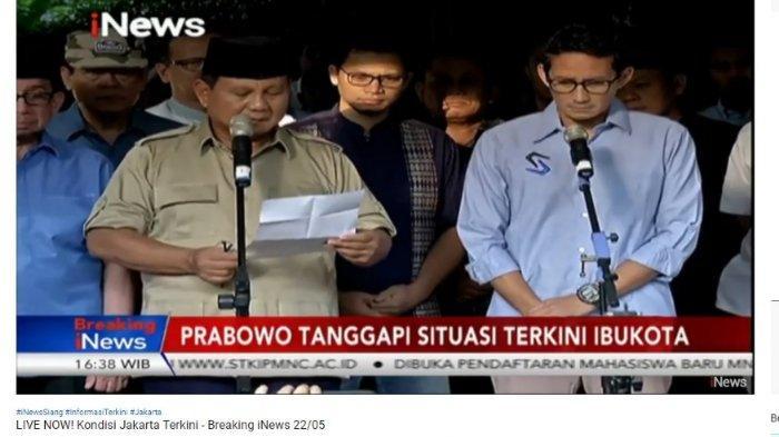 Sandiaga Uno yang tertunduk saat dengar pernyataan Prabowo, Rabu (22/5/2019).