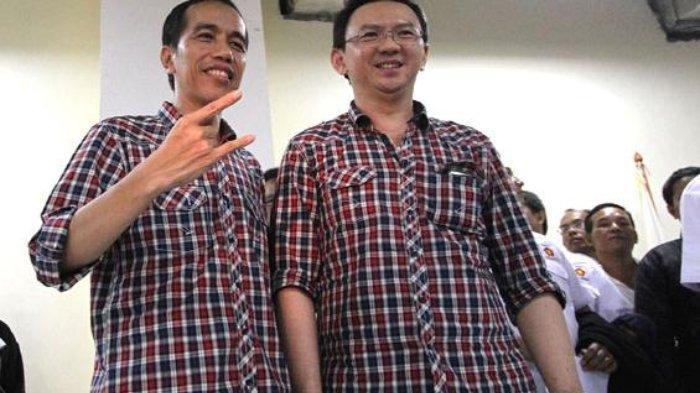 Pasangan Calon Gubernur DKI Jakarta Joko Widodo alias Jokowi dan Basuki Tjahaya Purnama alias Ahok mengenakan baju istimewanya bermotif kotak-kotak merah-biru.