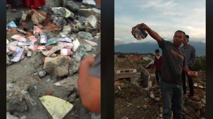 Sebaran uang yang ditemukan karena digali di Petobo, Jumat (7/6/2019)