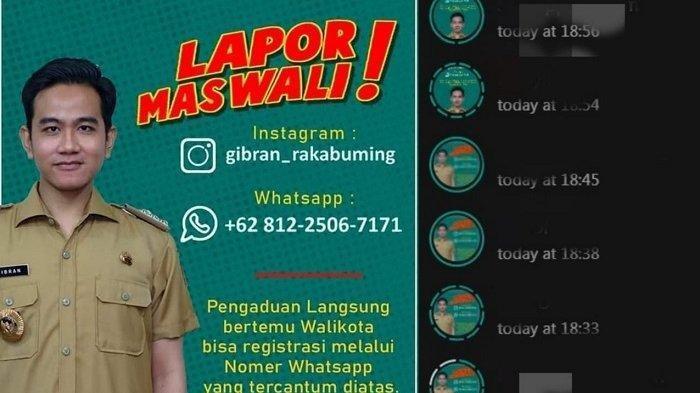 Sebuah postingan yang berisi informasi pengaduan terhadap Wali Kota Solo Gibran Rakabuming Raka viral di media sosial, khususnya Whatsapp (WA), Rabu (3/3/2021). Sejumlah warga membuat postingan dalam WA story mereka.