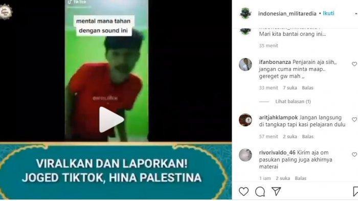 Sebuah video TikTok viral lantaran diduga menghina negara Palestina, Sabtu (15/5/2021).