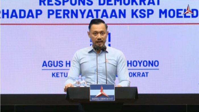 Ketua Umum Partai Demokrat Agus Harimurti Yudhoyono (AHY) dalam acara Konferensi Pers Ketua Umum Partai Demokrat | Menguak Kebenaran III: Respons Demokrat Terhadap Pernyataan KSP Moeldoko, Senin (29/3/2021). AHY buka suara terkait tudingan Kepala KSP Moeldoko.