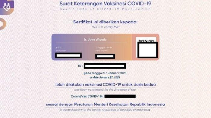 Sertifikat vaksin Presiden Jokowi yang beredar di media sosial.