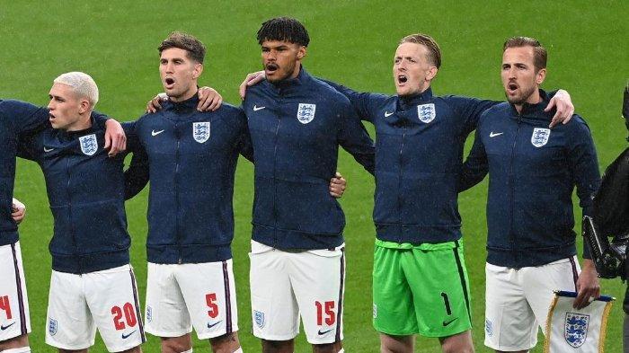 Skuad Timnas Inggris pada laga matchday kedua Grup D EURO 2020 melawan Skotlandia di Stadion Wembley, Inggris, Jumat (19/6/2021) pukul 02.00 WIB.