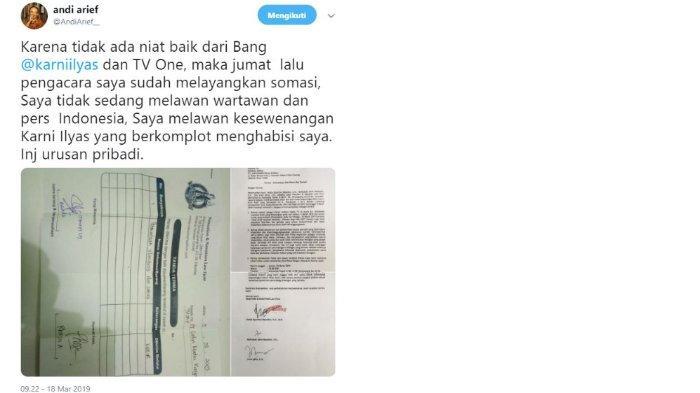 Mantan Politisi Partai Demokrat Andi Arief melayangkan somasi pada tvOne terkait program Indonesia Lawyers Club (ILC) yang mencantumkan namanya dalam topik diskusi ILC, Selasa (5/3/2019) lalu.