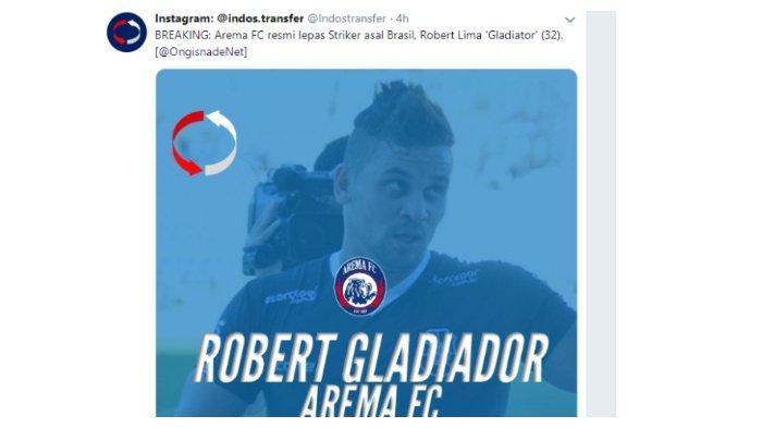 Striker Arema FC Robert Lima Gladiator dikabarkan Resmi dilepas