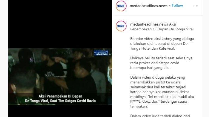 Suasana penembakan oleh oknum polisi MJ di De Tonga Hotel, Medan, diunggah Senin (1/3/2021).