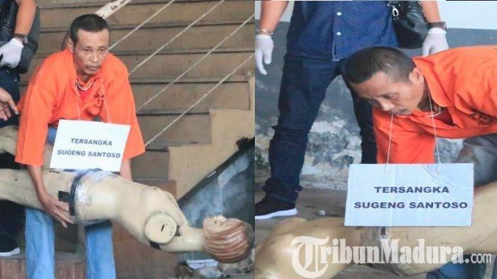 Sugeng Santoso, tersangka mutilasi di Pasar Besar Malang saat melakukan rekonstruksi adegan kepada korban, Selasa (18/6/2019).