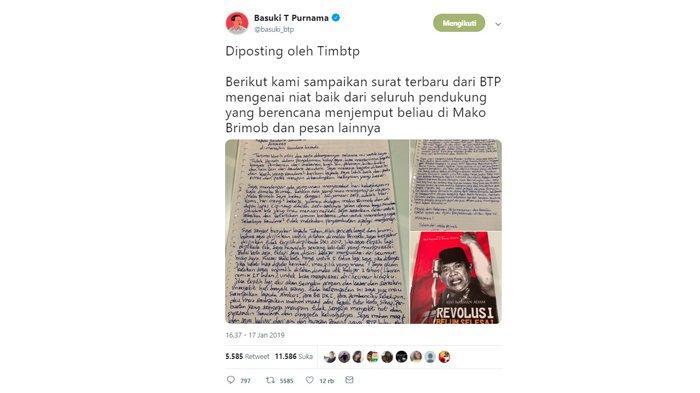 Postingan akun Twitter milik Basuki Tjahaja Purnama alias Ahok yang diunggah oleh Tim BTP, Kamis (17/1/2019).