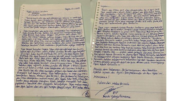 Surat yang ditulis oleh Basuki Tjahaja Purnama alias Ahok.