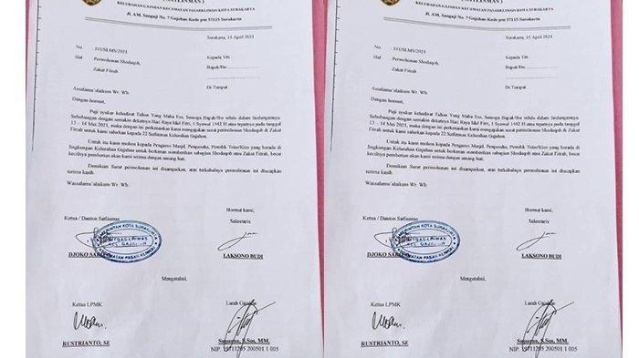 Surat dugaan pungli bermodus zakat ke pengusaha di Gajahan, Solo yang diposting anggota dewan dari PSI Antonius Yoga. Oknum Lurah S lalu dicopot Wali Kota Solo Gibran Rakabuming Raka.