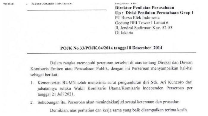Surat Keterbukaan Informasi dari PT. BRI (Persero) Tbk kepada Bursa Efek Indonesia tentang pengunduran diri Ari Kuncoro sebagai Wakil Komisaris Utama, Kamis (22/7/2021).