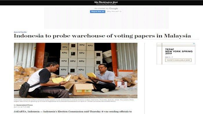 Pemberitaan media asing mengenai surat suara Pilpres yang sudah tercoblos di Malaysia.